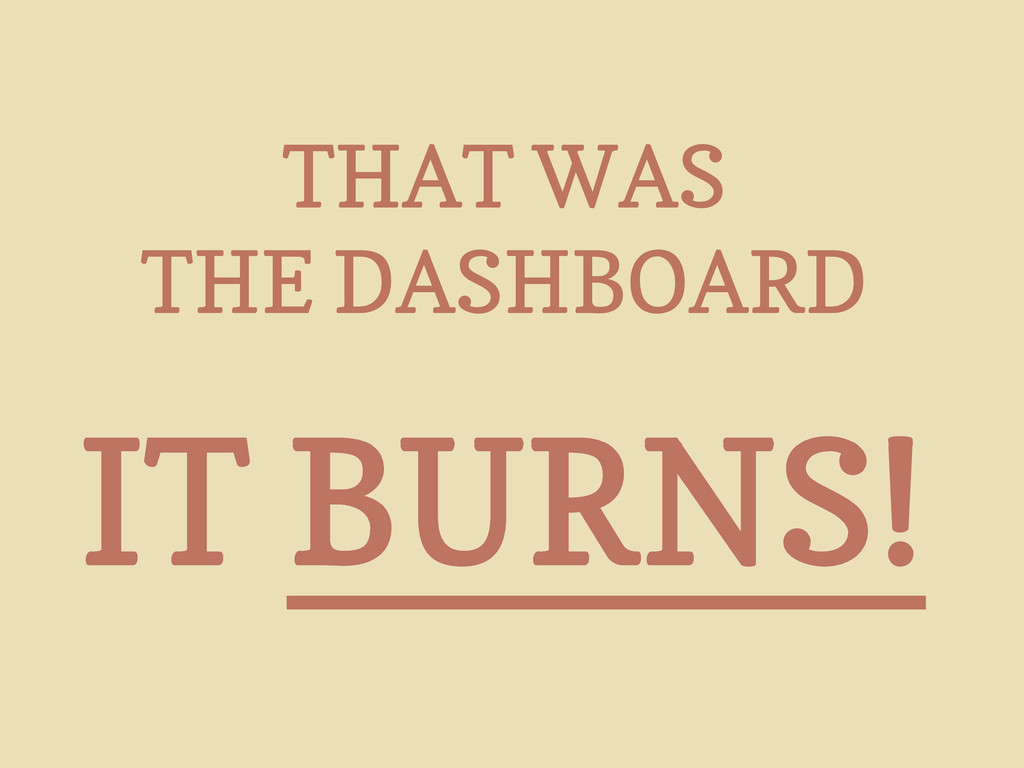 THAT WAS THE DASHBOARD IT BURNS!