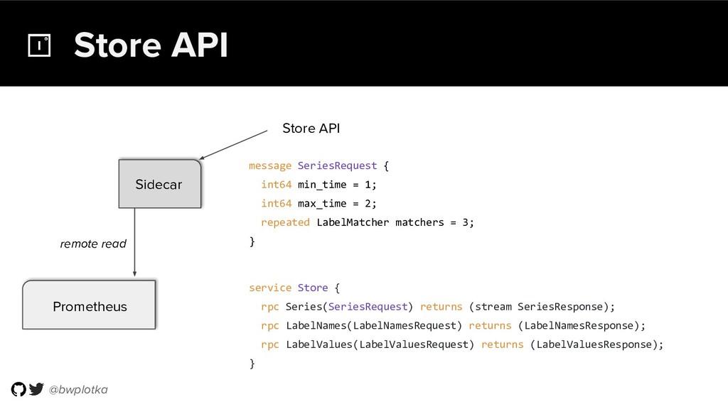 @bwplotka Store API service Store { rpc Series(...
