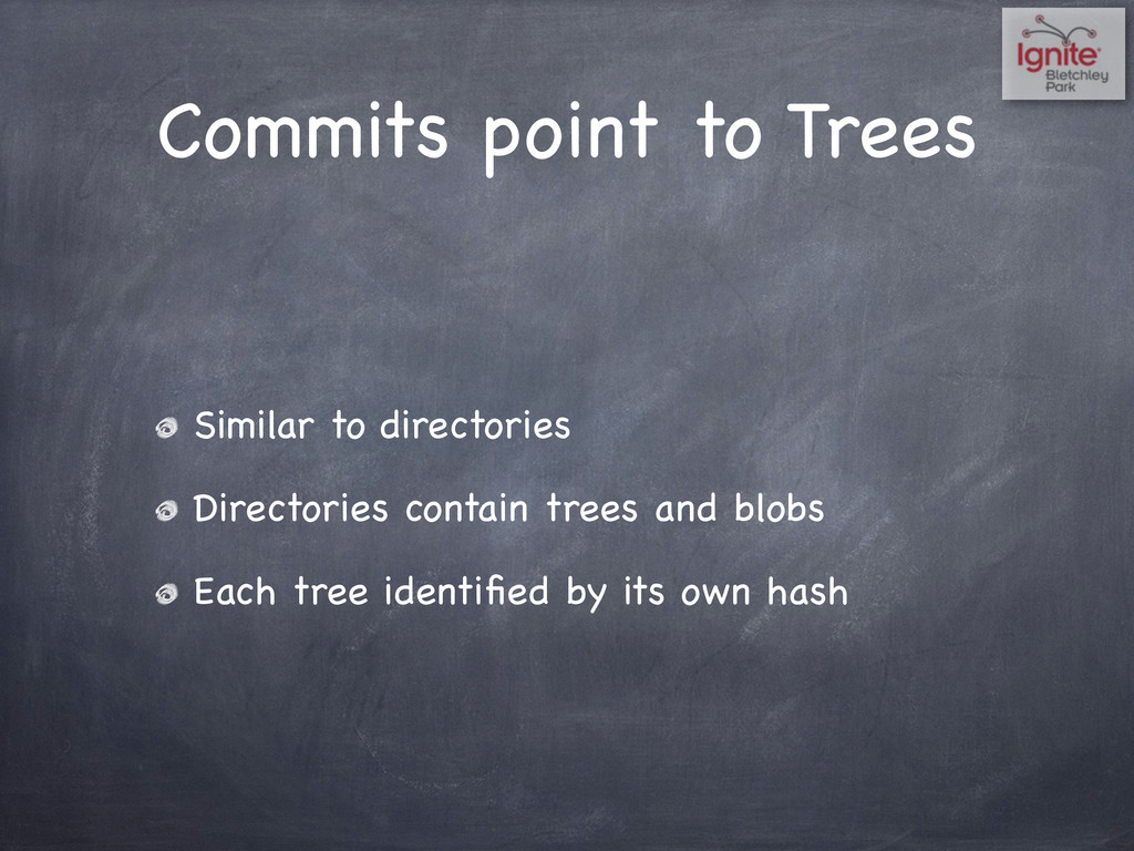 Commits point to Trees Similar to directories D...