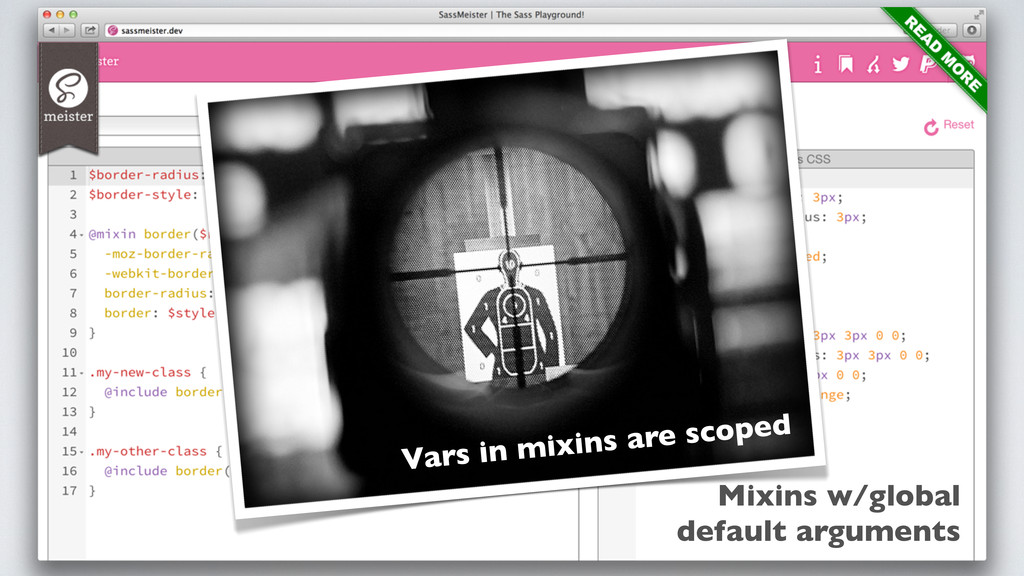 Mixins w/global default arguments Vars in mixin...