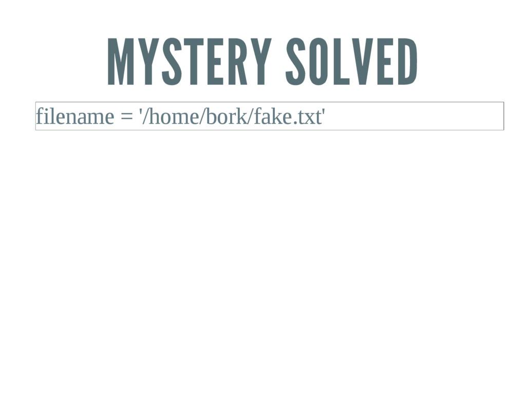 MYSTERY SOLVED filename = '/home/bork/fake.txt'