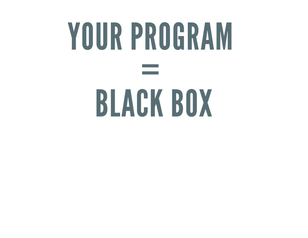 YOUR PROGRAM = BLACK BOX