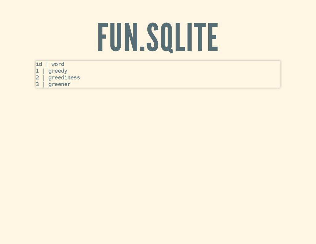 FUN.SQLITE FUN.SQLITE id   word 1   greedy 2   ...