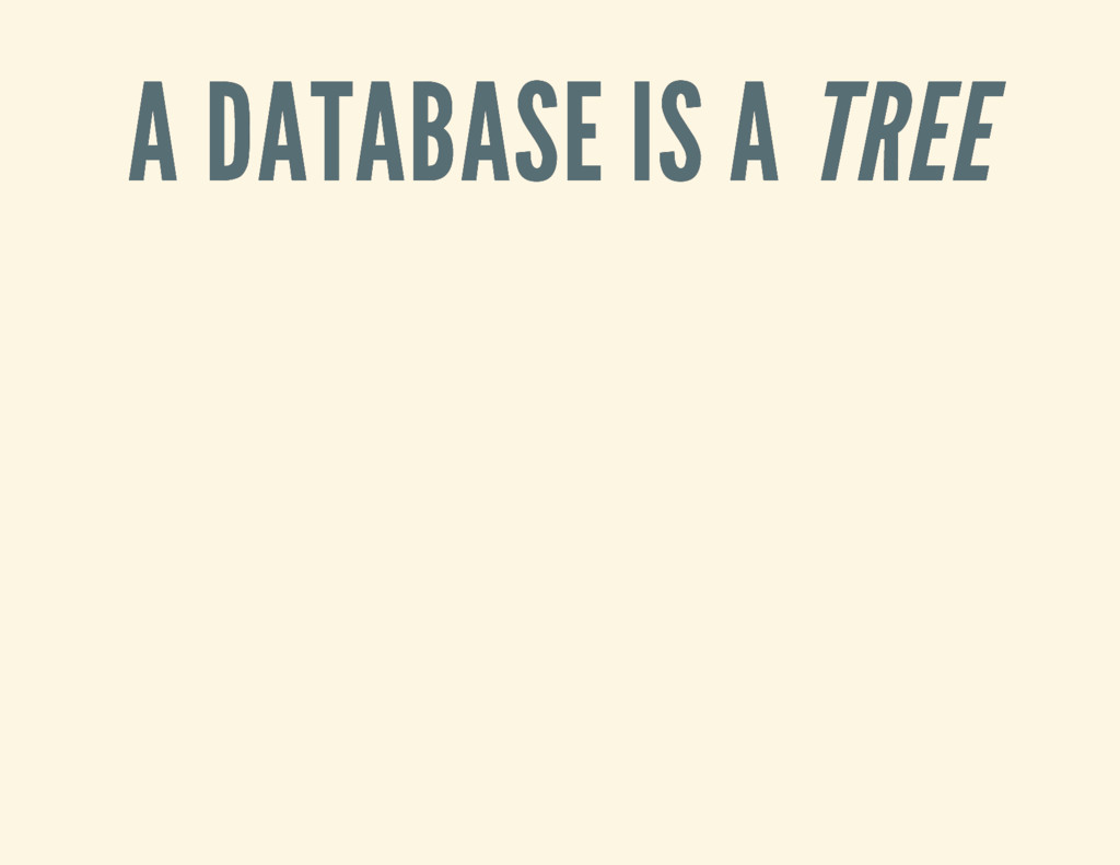 A DATABASE IS A A DATABASE IS A TREE TREE