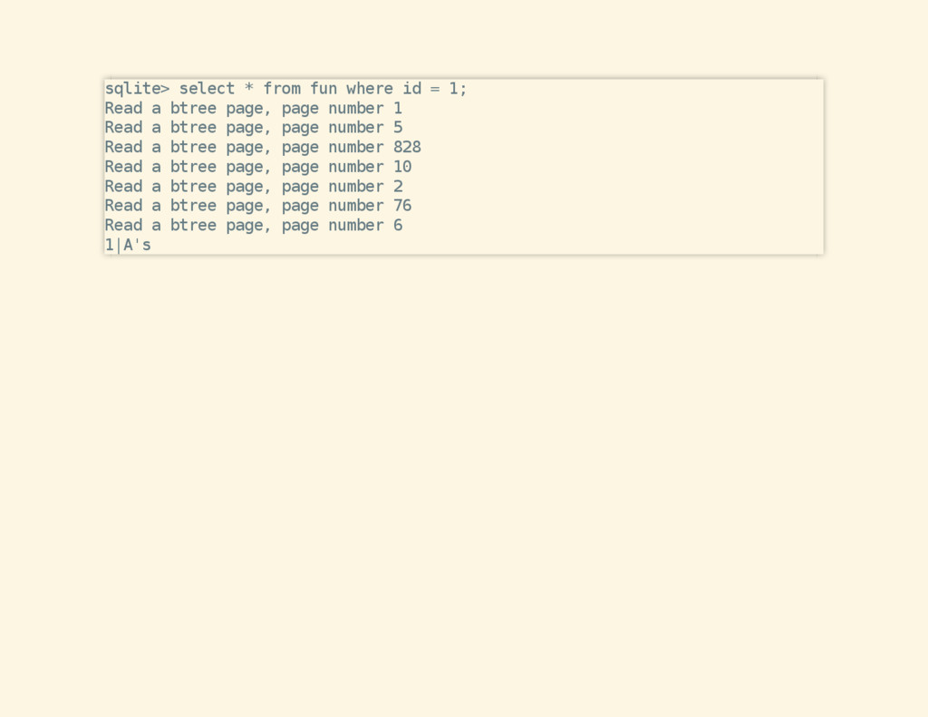 sqlite> select * from fun where id = 1; Read a ...