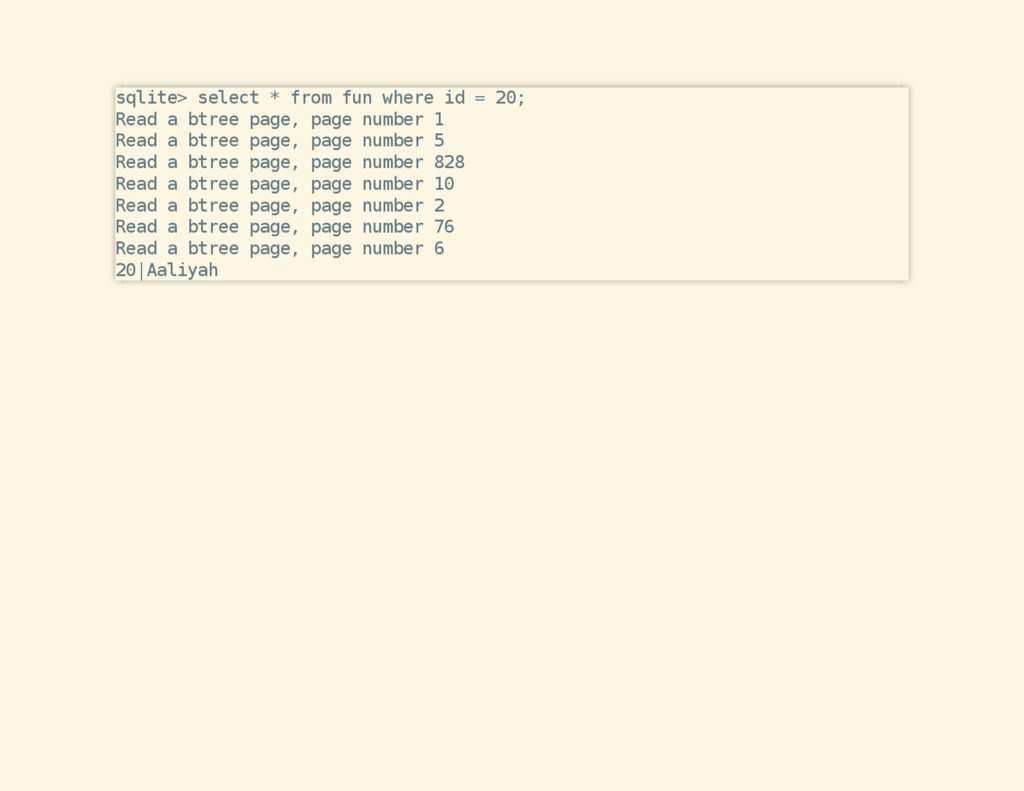 sqlite> select * from fun where id = 20; Read a...