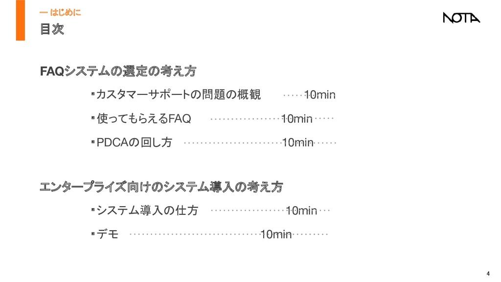 4 目次 FAQシステムの選定の考え方 ・カスタマーサポートの問題の概観      10mi...
