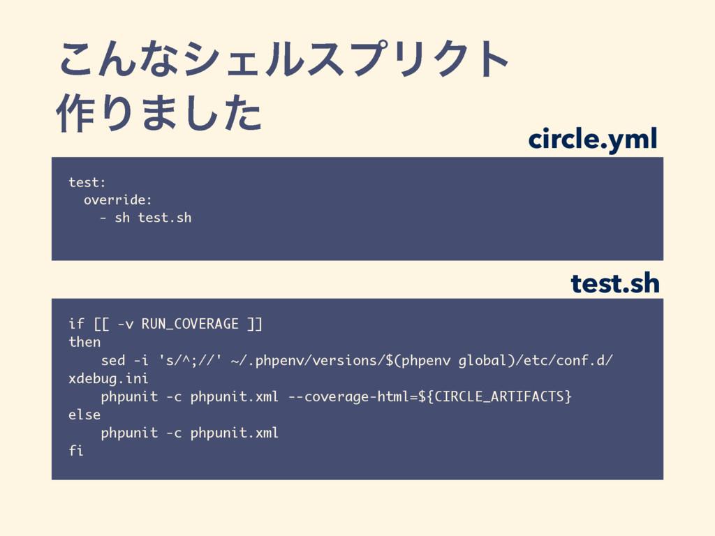 ͜ΜͳγΣϧεϓϦΫτ ࡞Γ·ͨ͠ test: override: - sh test.sh ...