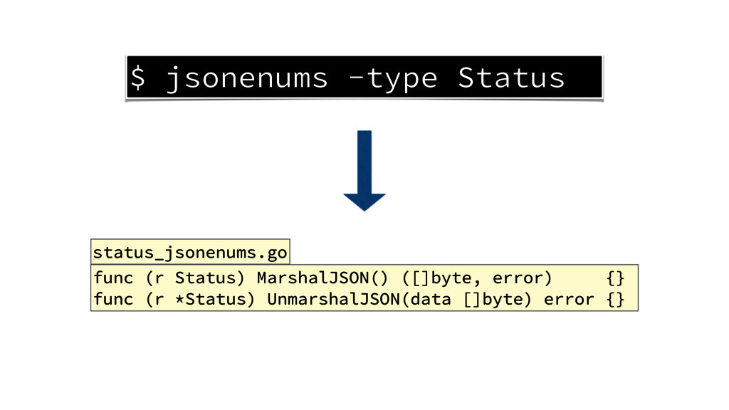 $ jsonenums -type Status func (r Status) Marsha...