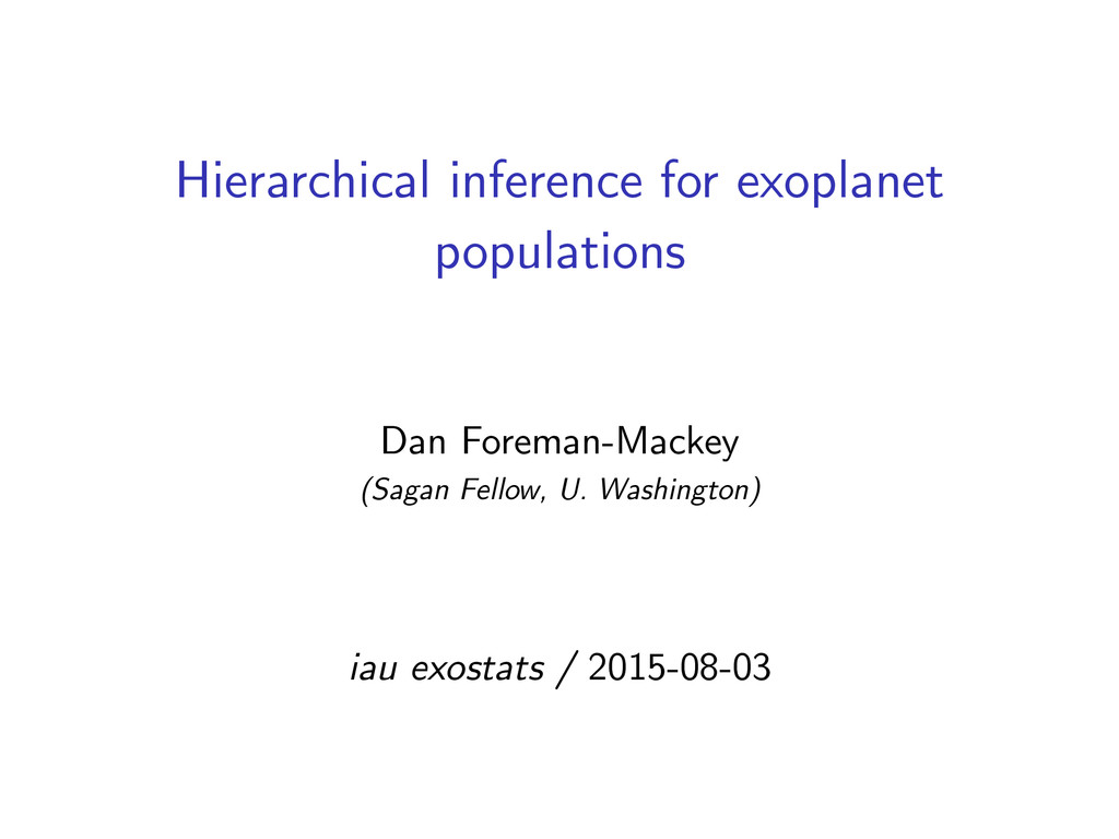 Hierarchical inference for exoplanet population...