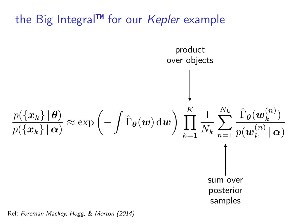 the Big Integral™ for our Kepler example p ( { ...