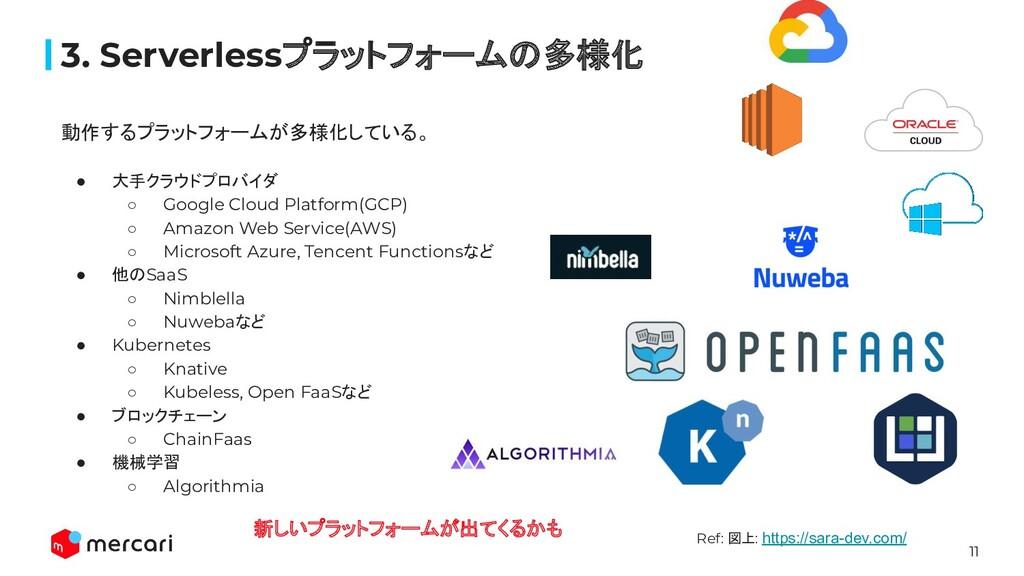 11 動作するプラットフォームが多様化している。 ● 大手クラウドプロバイダ ○ Google...