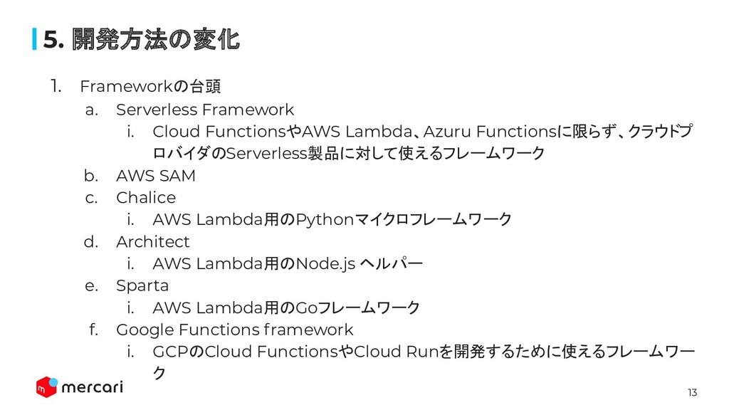 13 1. Frameworkの台頭 a. Serverless Framework i. C...