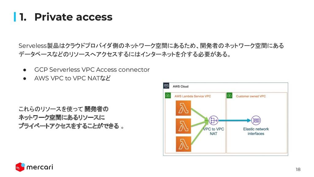 18 Serveless製品はクラウドプロバイダ側のネットワーク空間にあるため、開発者のネット...