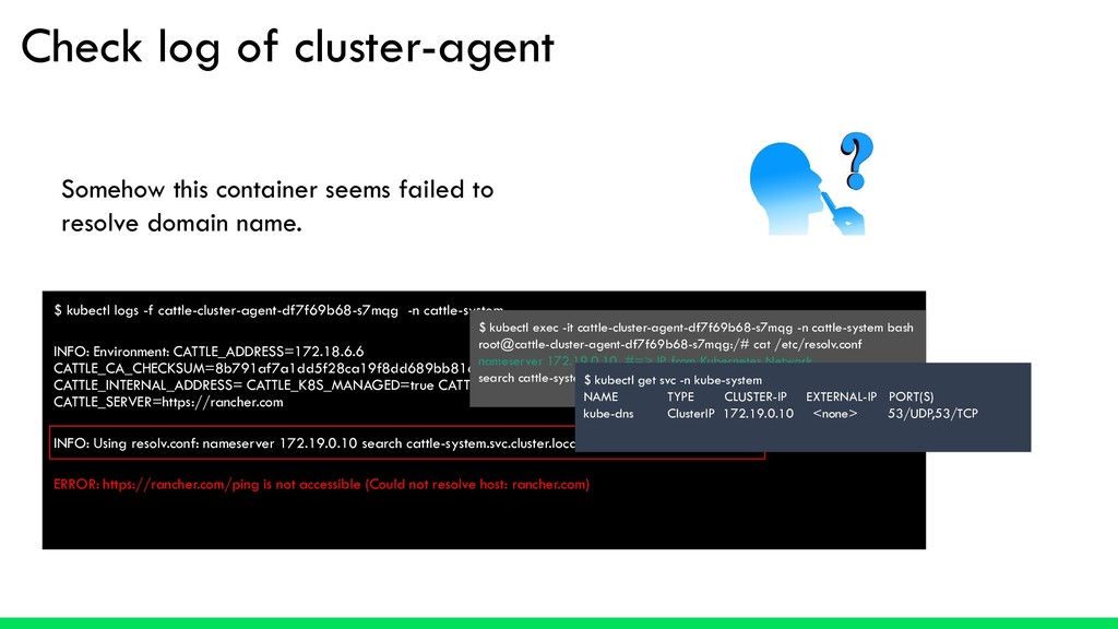 Check log of cluster-agent $ kubectl logs -f ca...