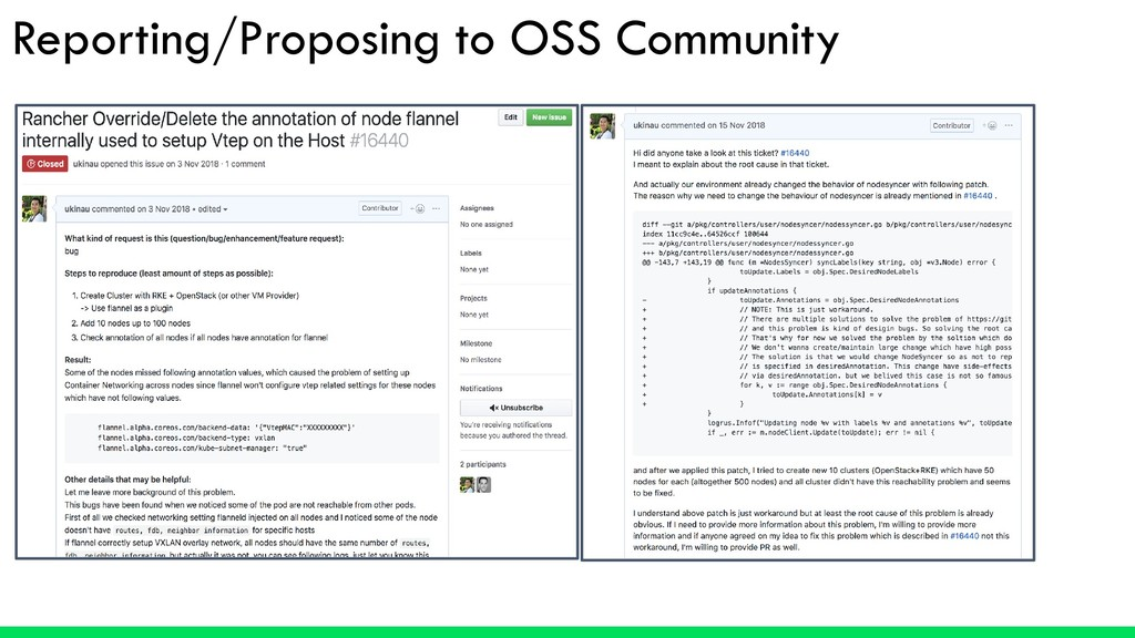Reporting/Proposing to OSS Community