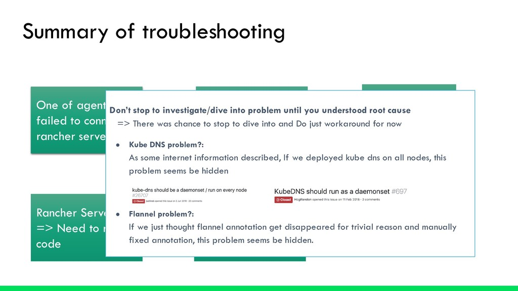 Summary of troubleshooting One of agents failed...