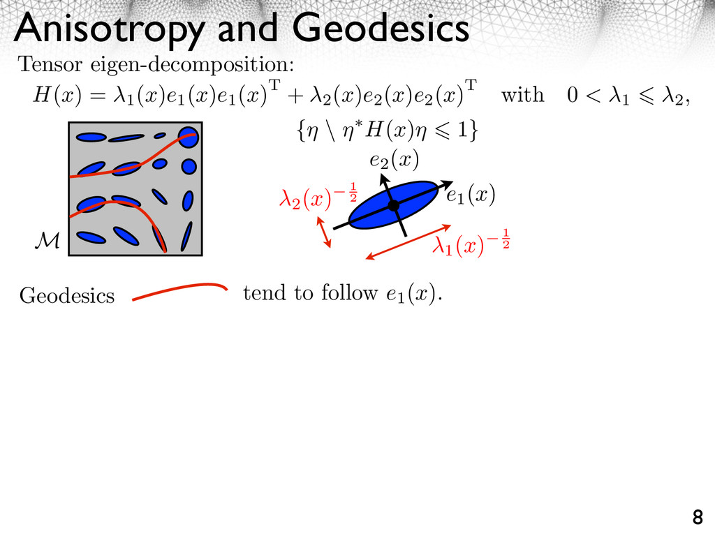 Anisotropy and Geodesics 8 H(x) = 1 (x)e1 (x)e1...