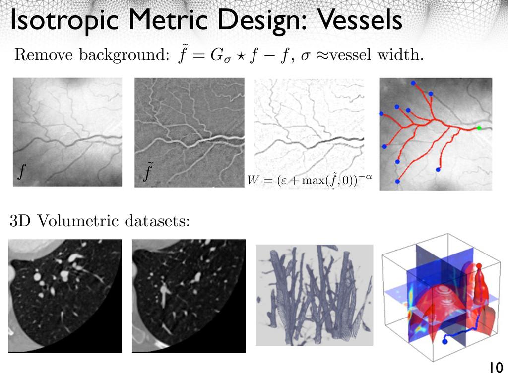Isotropic Metric Design: Vessels 10 f ˜ f W = (...
