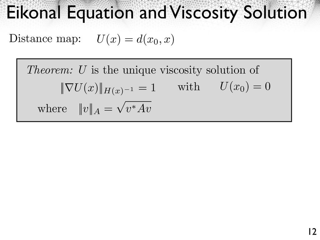 Eikonal Equation and Viscosity Solution 12 U(x)...