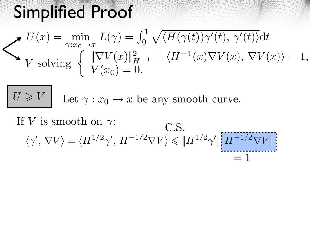 Simplified Proof V solving ||⇤V (x)||2 H 1 = H 1...