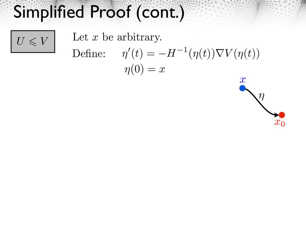 Simplified Proof (cont.) U V Define: (t) = H 1( (...