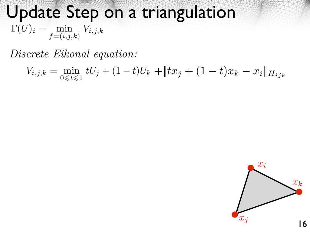 Update Step on a triangulation 16 Vi,j,k = min ...