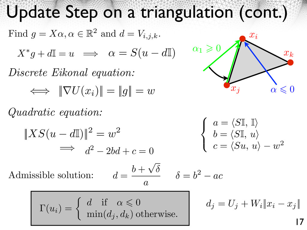 Update Step on a triangulation (cont.) 17 = b2 ...