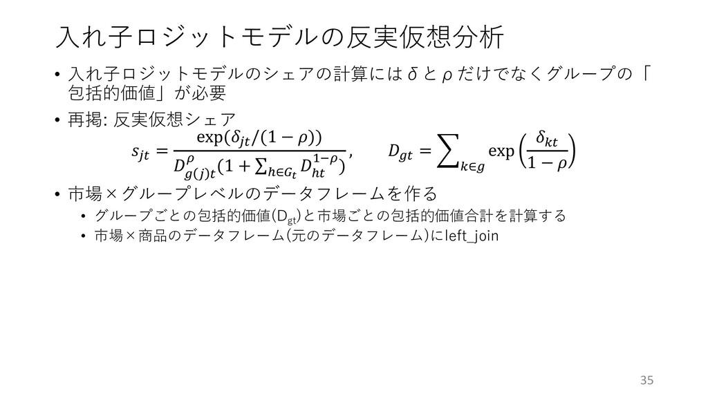 ⼊れ⼦ロジットモデルの反実仮想分析 • ⼊れ⼦ロジットモデルのシェアの計算にはδとρだけでなく...