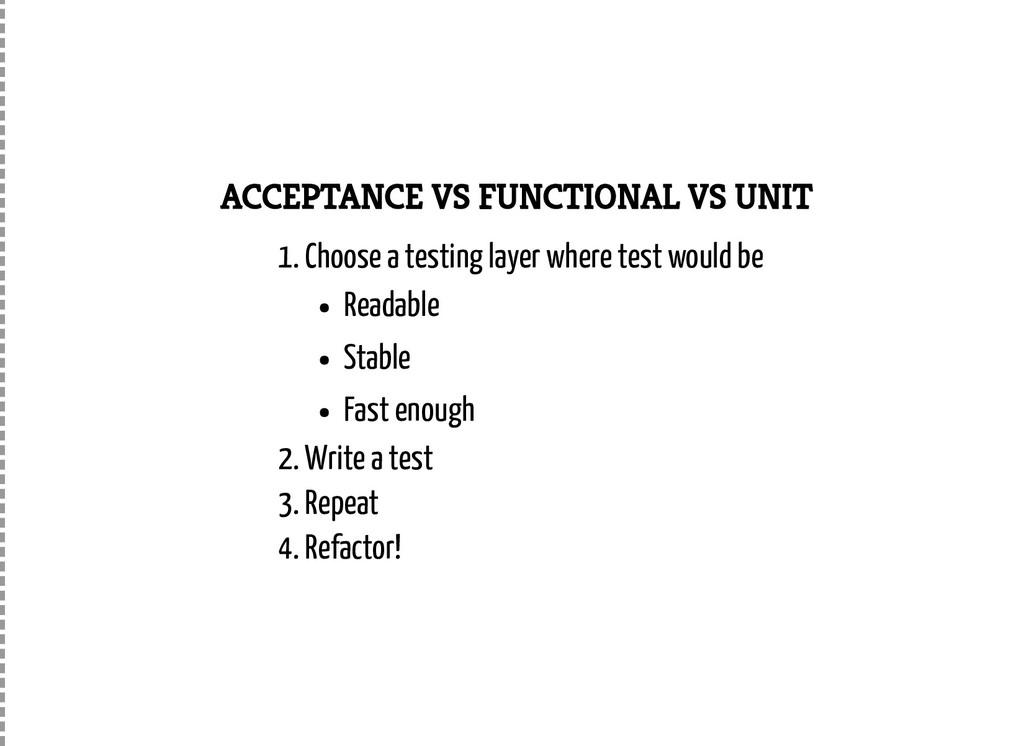 ACCEPTANCE VS FUNCTIONAL VS UNIT 1. Choose a te...
