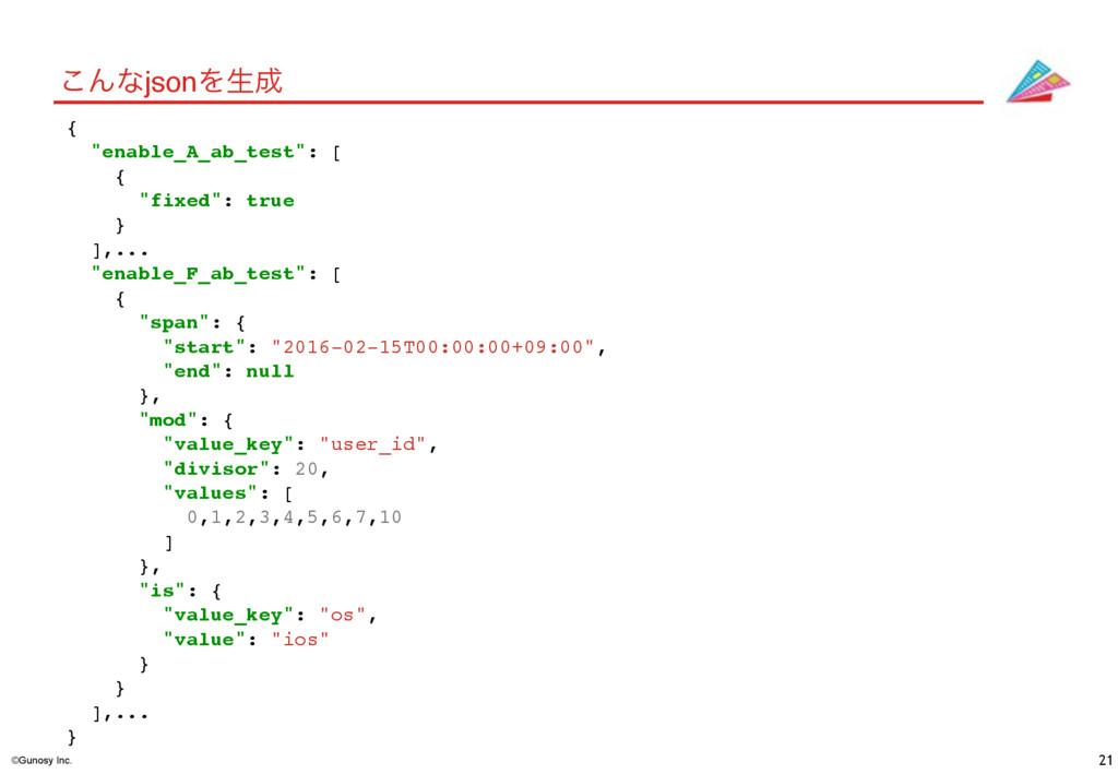 "©Gunosy Inc. 21 ͜ΜͳjsonΛੜ { ""enable_A_ab_test""..."