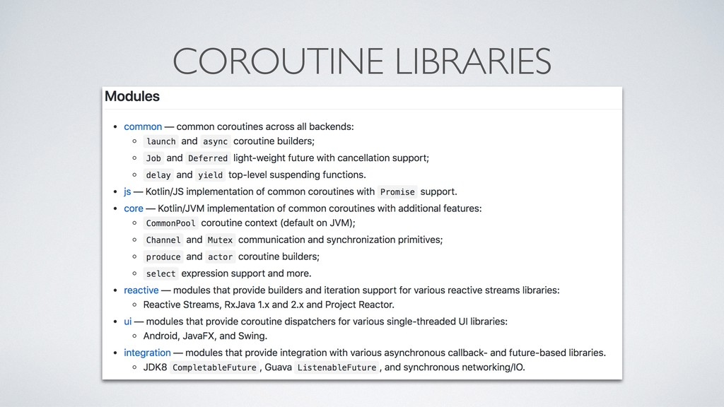 COROUTINE LIBRARIES