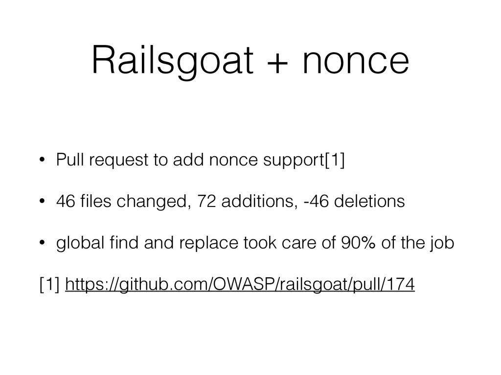 Railsgoat + nonce • Pull request to add nonce s...
