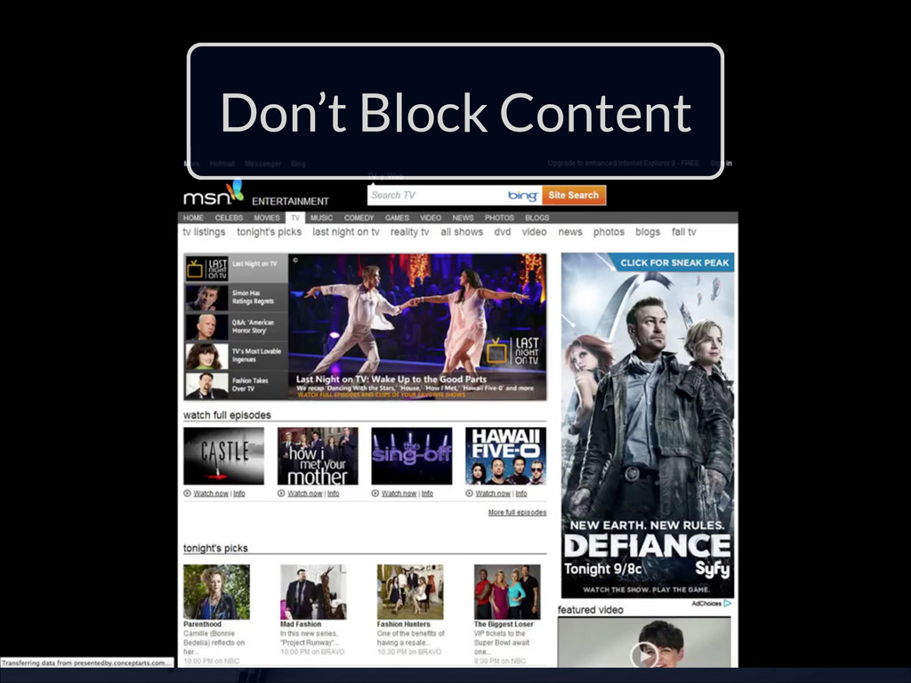 Don't Block Content
