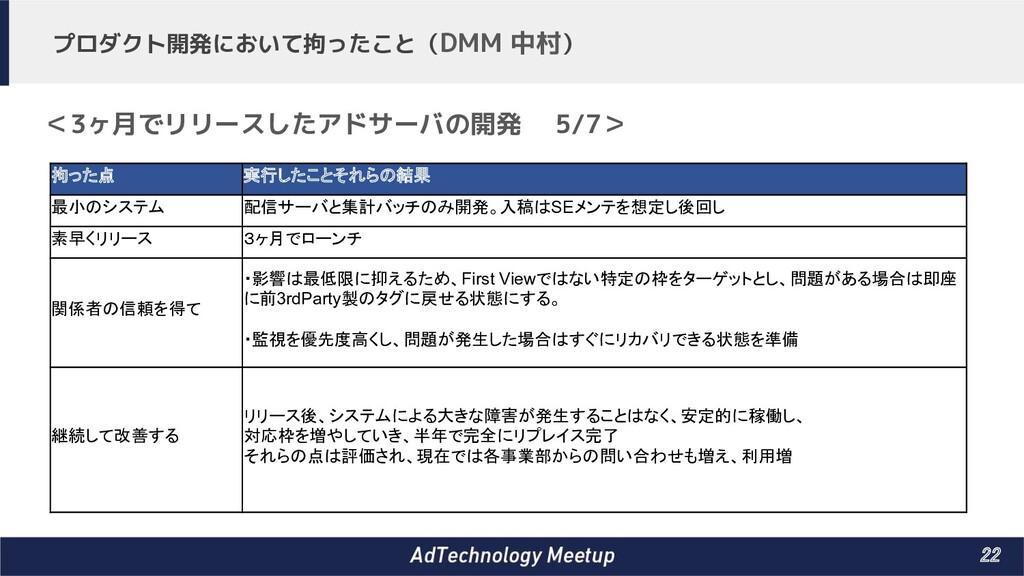 22 プロダクト開発において拘ったこと(DMM 中村) <3ヶ月でリリースしたアドサーバの開...