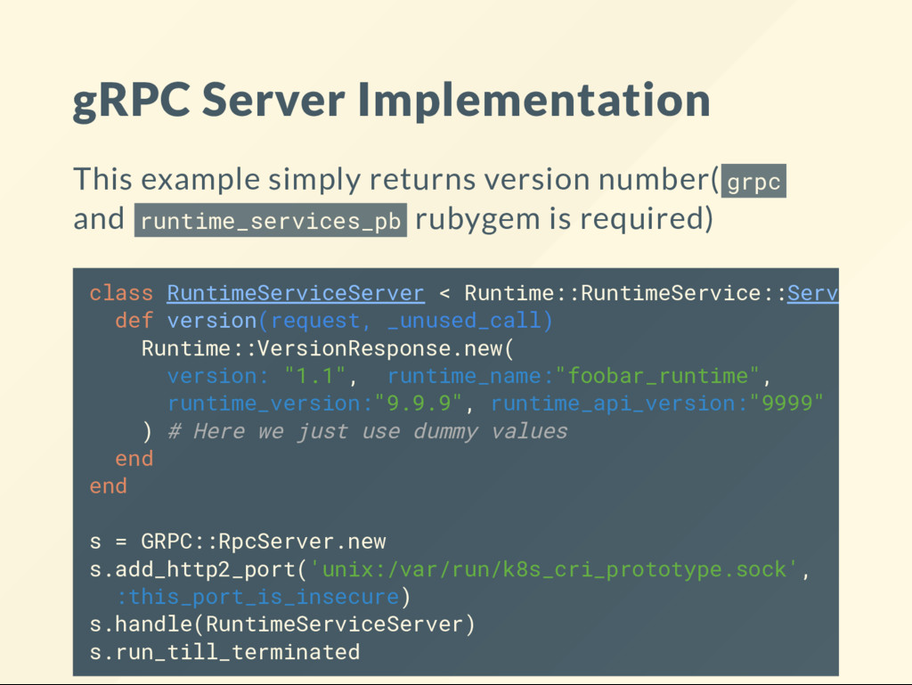 gRPC Server Implementation This example simply ...