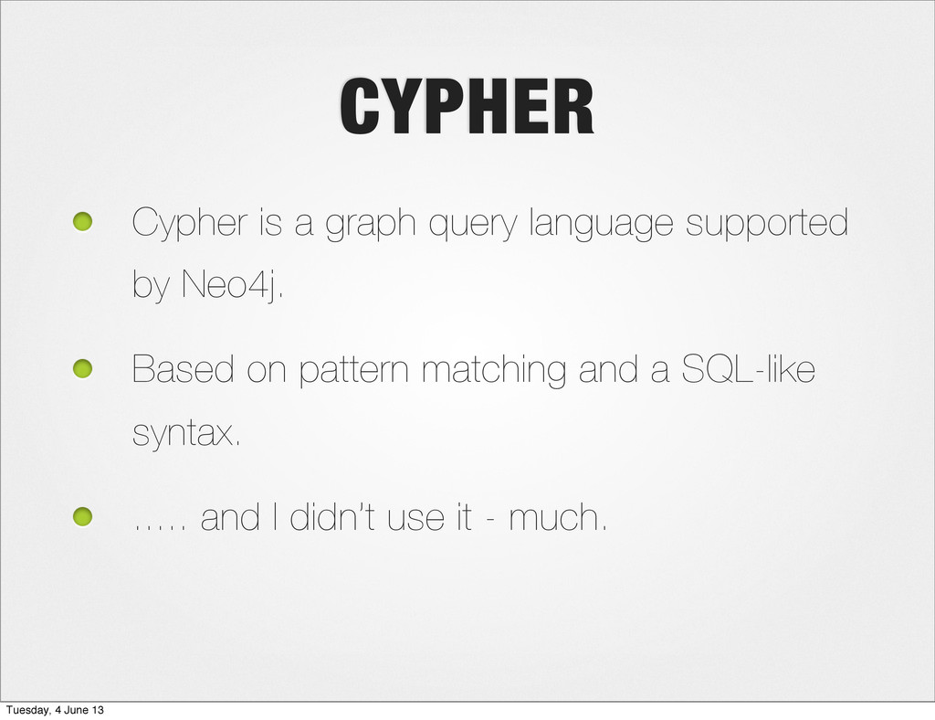 CYPHER Cypher is a graph query language support...