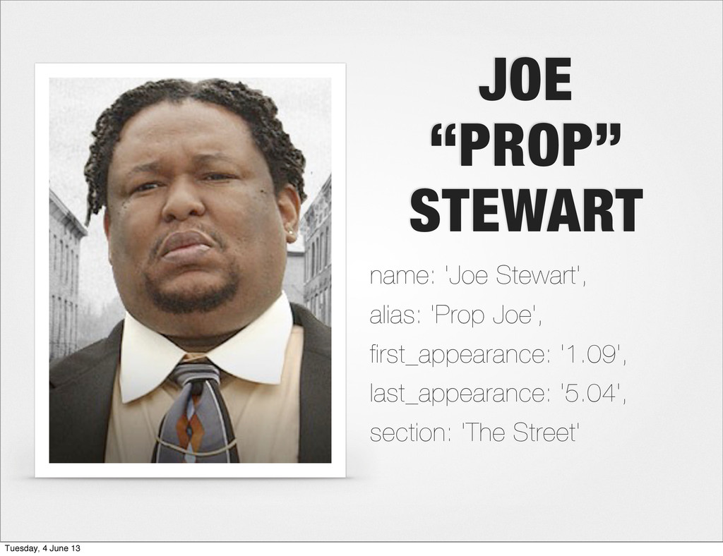 "JOE ""PROP"" STEWART name: 'Joe Stewart', alias: ..."