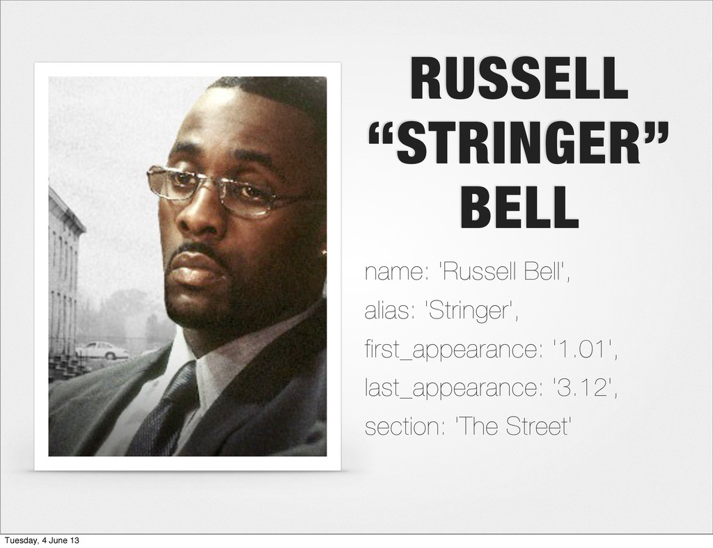 """RUSSELL """"STRINGER"""" BELL name: 'Russell Bell', a..."""