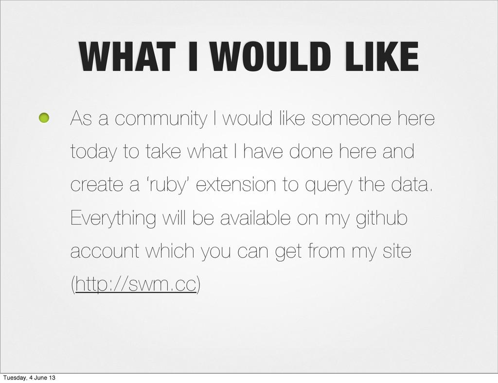 WHAT I WOULD LIKE As a community I would like s...