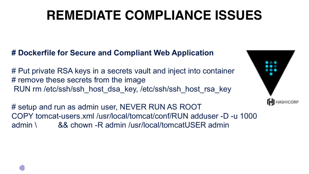 REMEDIATE COMPLIANCE ISSUES # Dockerfile for Se...