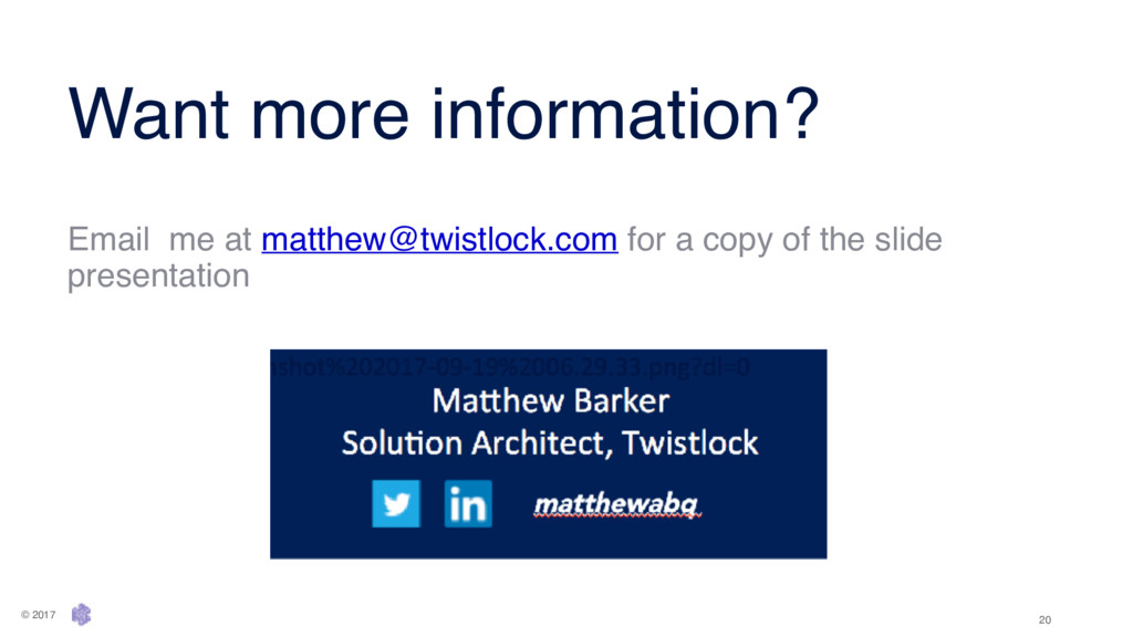 Want more information? Email me at matthew@twis...