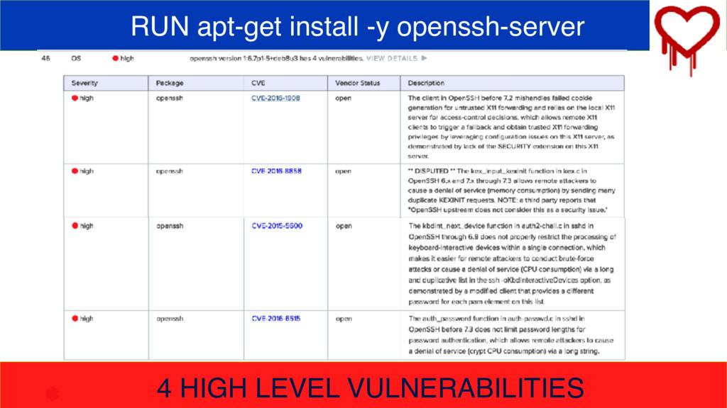 RUN apt-get install -y openssh-server 4 HIGH LE...