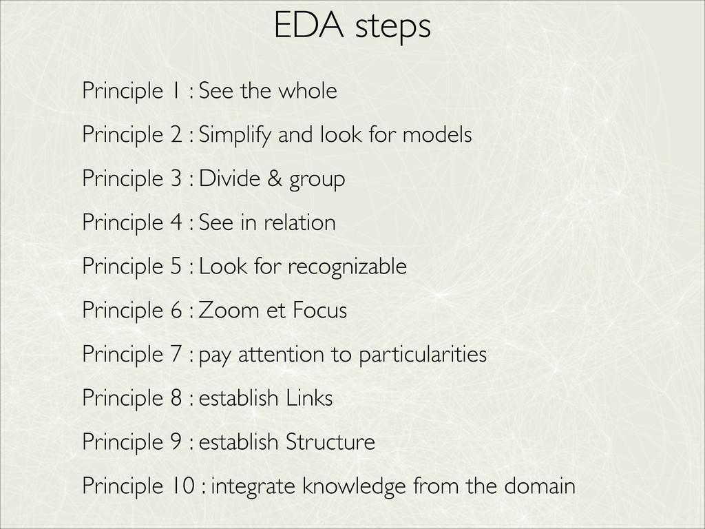EDA steps Principle 1 : See the whole  Princi...