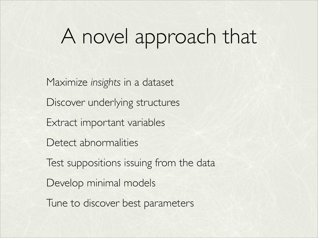 A novel approach that Maximize insights in a da...