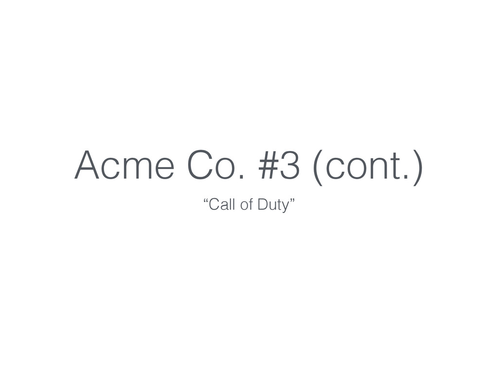 """Acme Co. #3 (cont.) """"Call of Duty"""""""