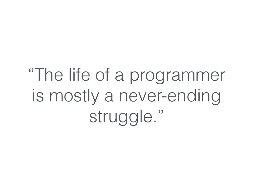 """""""The life of a programmer is mostly a never-end..."""