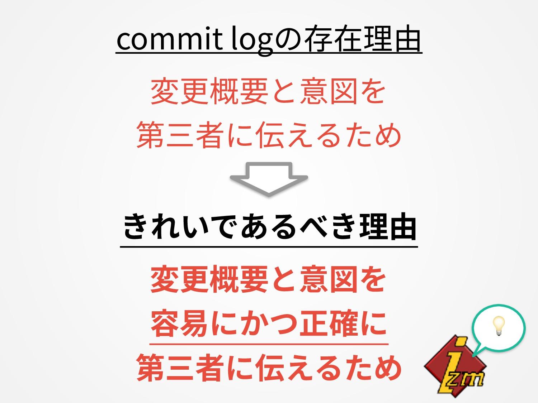 commit logの存在理由 変更概要と意図を 第三者に伝えるため きれいであるべき理由 ...