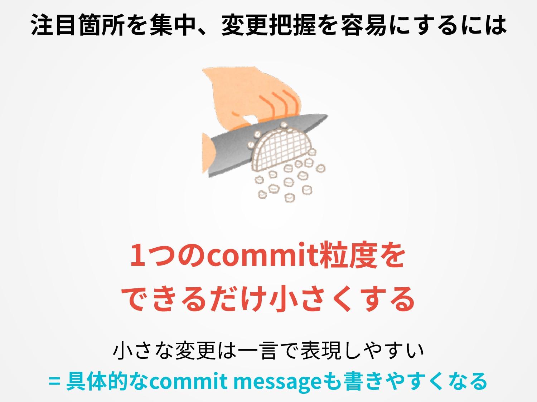 1つのcommit粒度を できるだけ⼩さくする ⼩さな変更は⼀⾔で表現しやすい = 具体的なc...