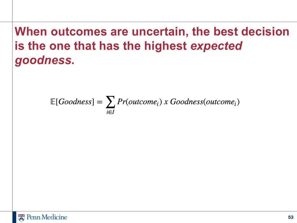 53 When outcomes are uncertain, the best decisi...